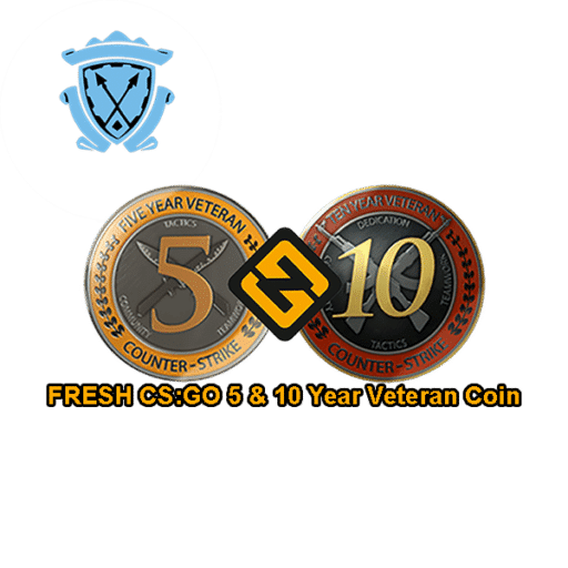 FRESH prime CSGO 5 & 10 Year Veteran Coin Accounts
